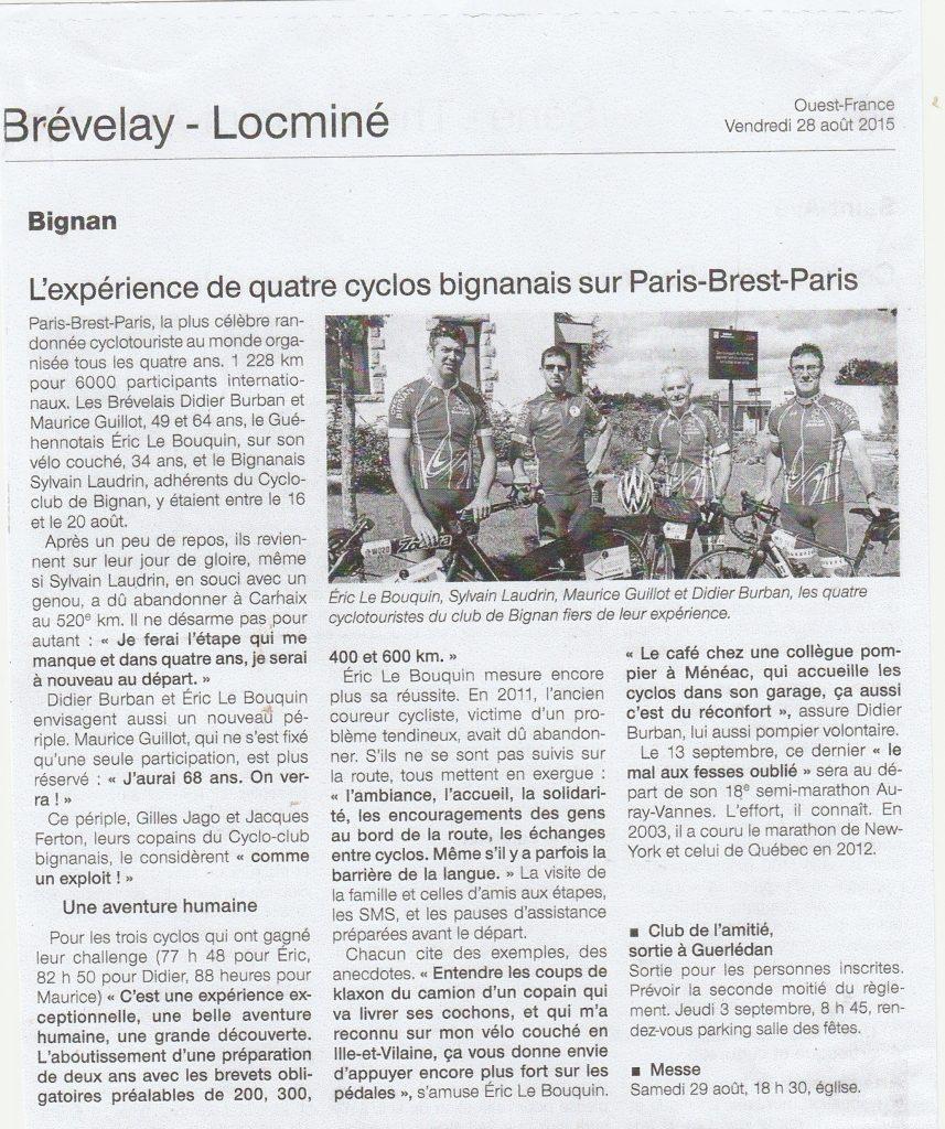 Paris/Brest | Cyclo club Bignan
